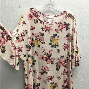 Floral flare sleeve Tee shirt
